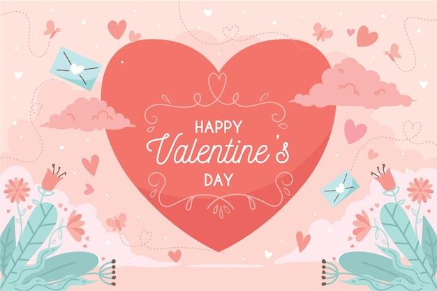 Valentijnsdag achtergrond in plat ontwerp Gratis Vector