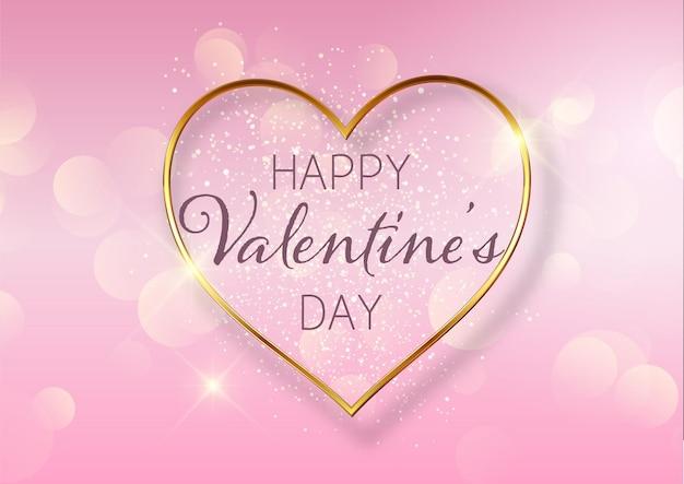 Valentijnsdag achtergrond met gouden hart ontwerp en bokeh lichten Gratis Vector