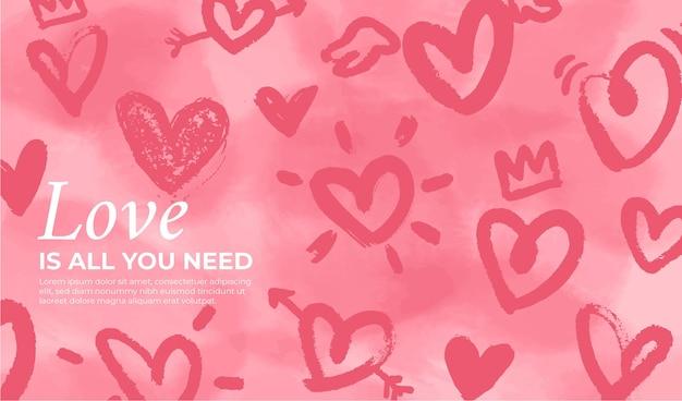Valentijnsdag achtergrond met handgetekende harten Gratis Vector