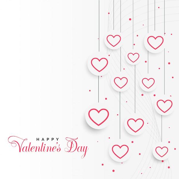 Valentijnsdag achtergrond met hangende harten Gratis Vector