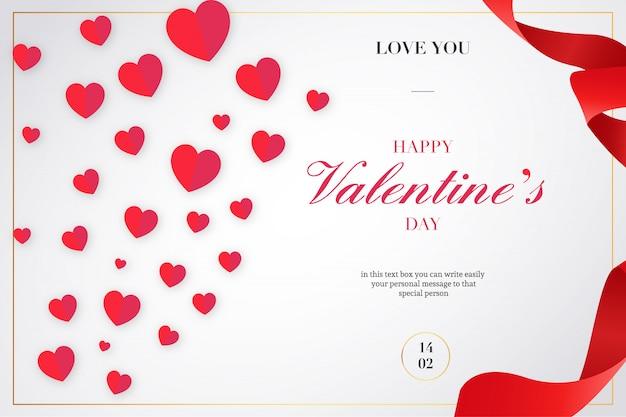 Valentijnsdag achtergrond met linten en harten Gratis Vector