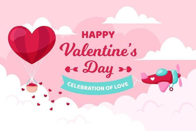 Valentijnsdag achtergrond met vliegtuig en ballon Gratis Vector