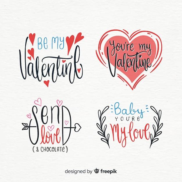Valentijnsdag badge collectie Gratis Vector