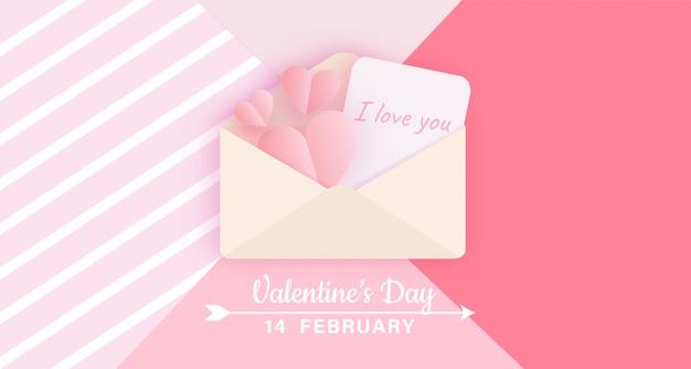 Valentijnsdag banner met liefdesbrief Premium Vector