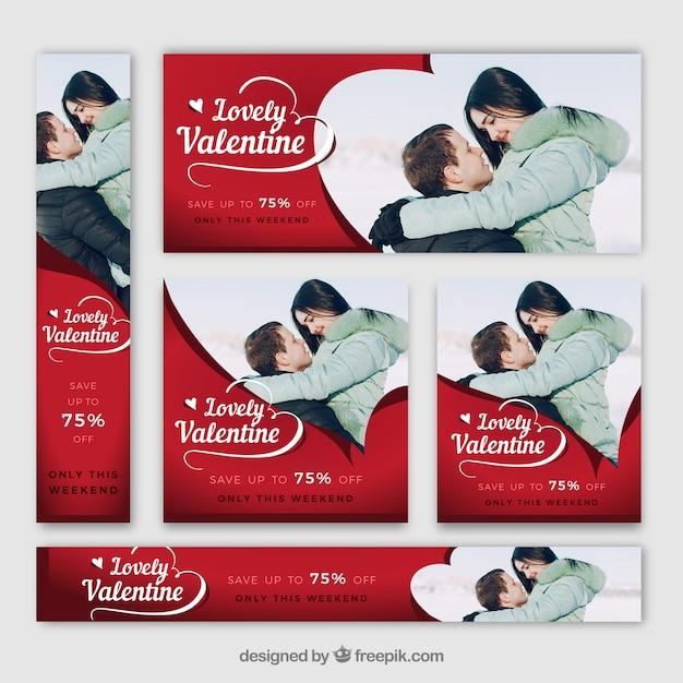 Valentijnsdag banner web Gratis Vector