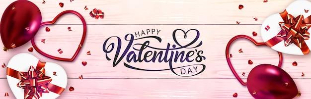 Valentijnsdag bannerontwerp. hand getrokken belettering. Premium Vector