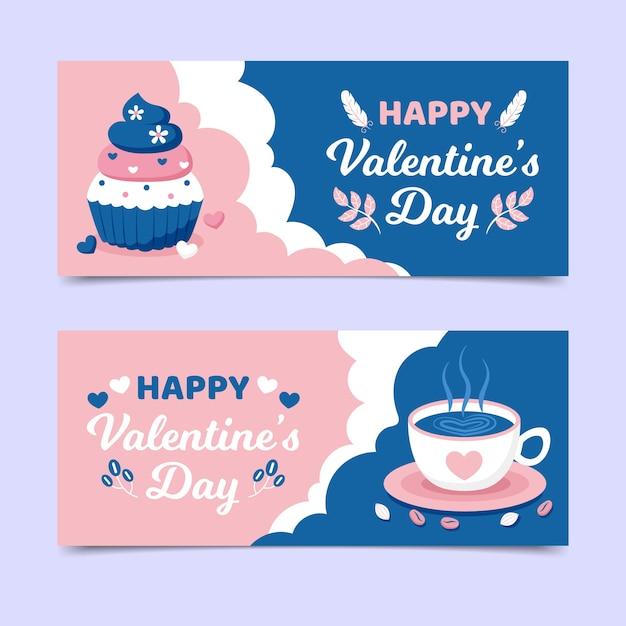 Valentijnsdag banners met koffie en cupcake Gratis Vector