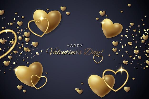 Valentijnsdag behang met gouden hartjes Gratis Vector