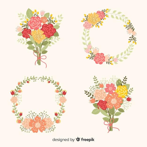 Valentijnsdag bloemenkransen en boeketten Gratis Vector