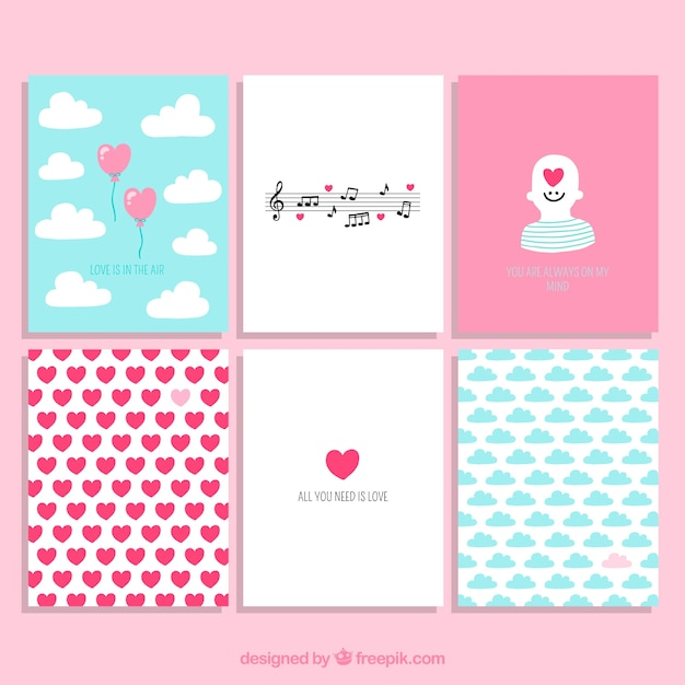 Valentijnsdag cute cards collection Gratis Vector