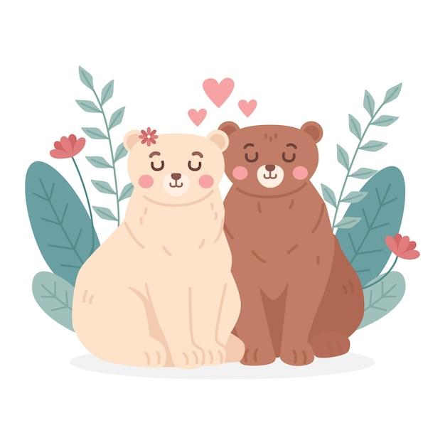 Valentijnsdag dierlijk paar in plat ontwerp Gratis Vector
