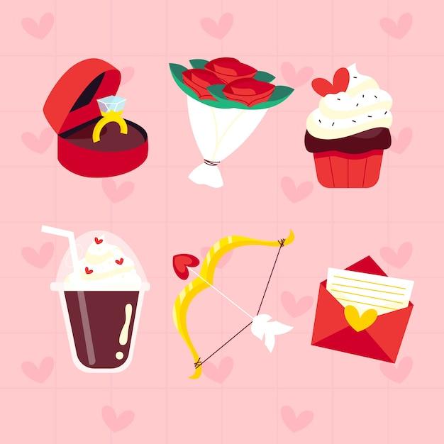 Valentijnsdag element collectie in plat ontwerp Gratis Vector