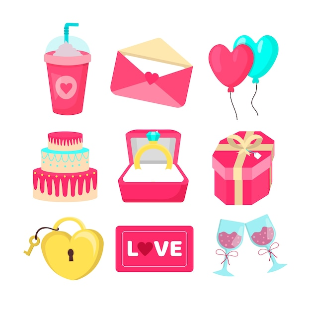 Valentijnsdag element collectie Gratis Vector