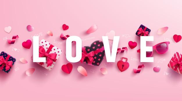 Valentijnsdag en liefde banner met zoet geschenk Premium Vector
