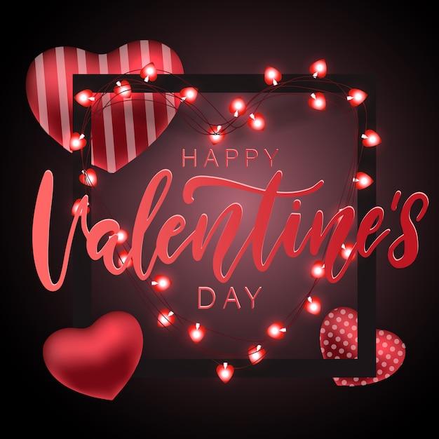 Valentijnsdag feestelijke feestkaart Premium Vector