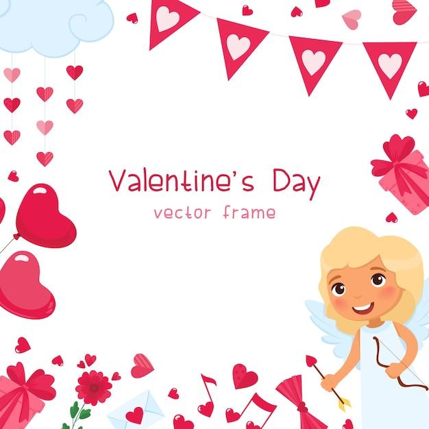 Valentijnsdag feestelijke romantische vierkante frame sjabloon. roze hartjes, cadeautjes en ballonnen accessoires. 14 februari vakantie wenskaart ontwerp. cupido met pijlkarakter Gratis Vector