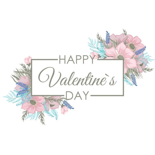 Valentijnsdag frame met bloemen Gratis Vector