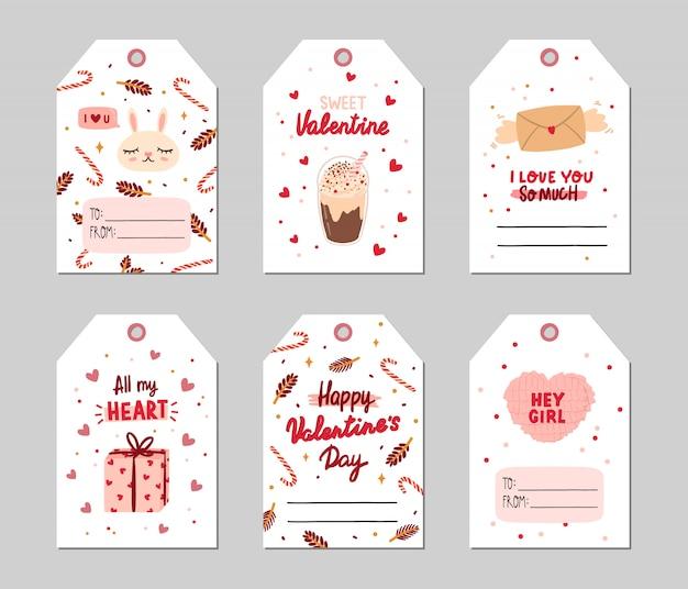 Valentijnsdag geschenk tags ingesteld met romantische en schoonheid elementen. Premium Vector