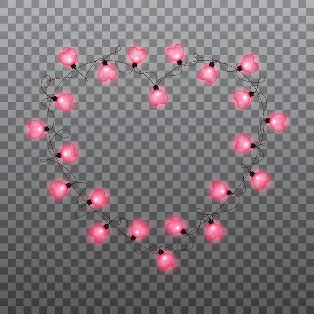 Valentijnsdag gloeilampen slinger Premium Vector