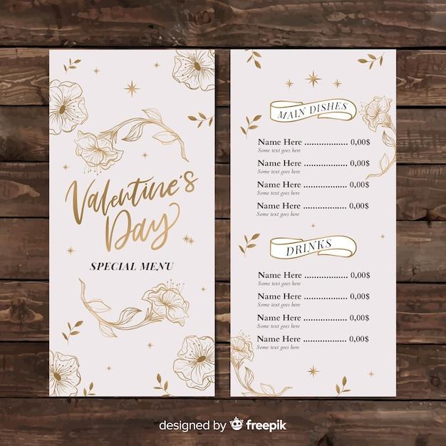 Valentijnsdag gouden bloemen menusjabloon Gratis Vector