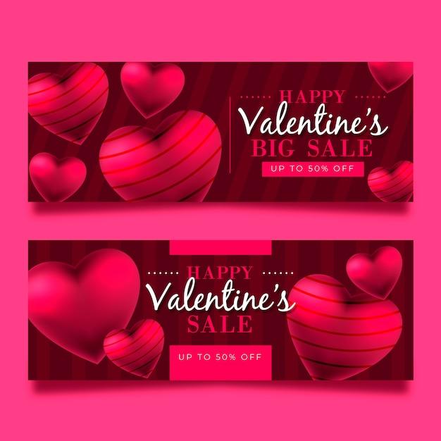 Valentijnsdag grote verkoop met gestreepte harten Gratis Vector