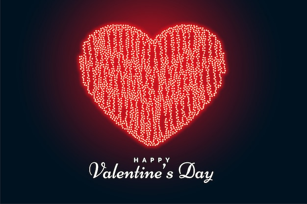Valentijnsdag hart gemaakt met lichten wenskaart Gratis Vector