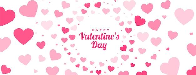 Valentijnsdag harten patroon banner Gratis Vector