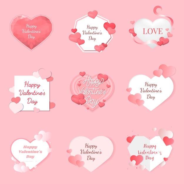 Valentijnsdag illustratie pictogrammen Gratis Vector