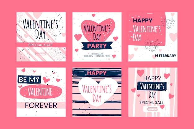 Valentijnsdag instagram collectie Gratis Vector