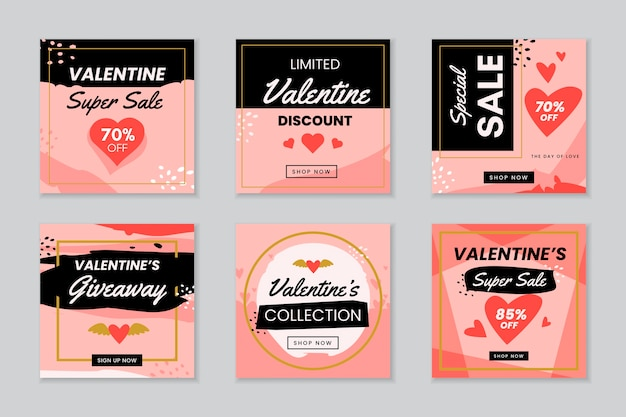 Valentijnsdag instagram post collectie Gratis Vector