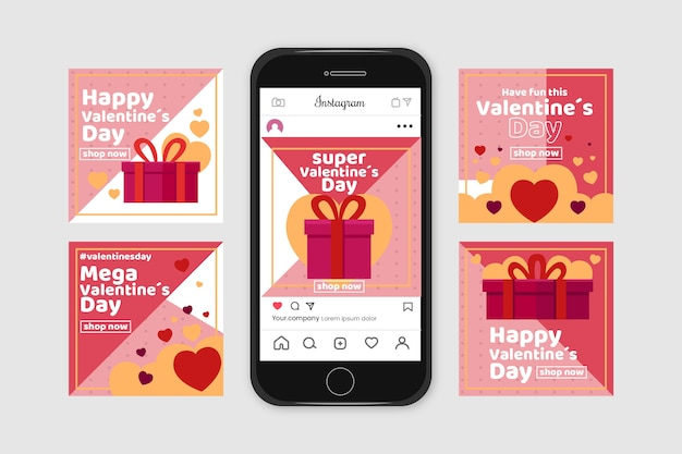 Valentijnsdag instagram post set Gratis Vector