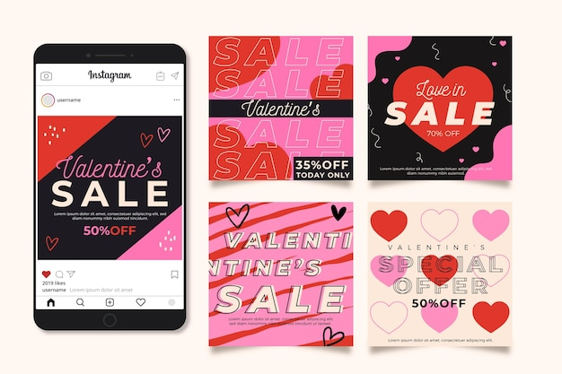 Valentijnsdag instagram postpakket Gratis Vector