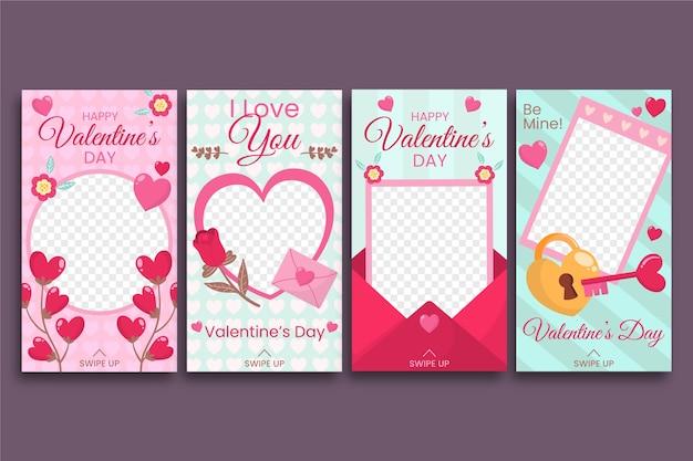 Valentijnsdag instagram verhaalcollectie Gratis Vector