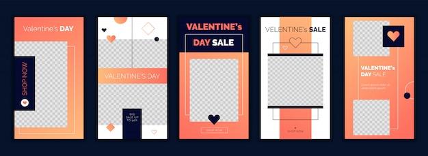 Valentijnsdag instagram verhalen ontwerpsjabloon Premium Vector