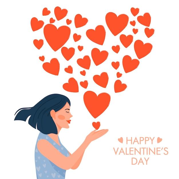 Valentijnsdag kaart. leuk meisje in liefde blazende kus in de vorm van een hart. Premium Vector