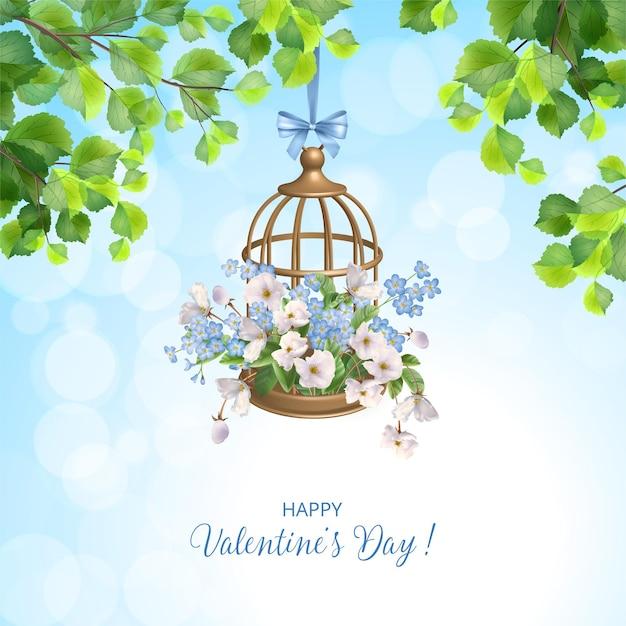 Valentijnsdag kaart met decoratieve hangende gouden vogelkooi en bloemen Premium Vector