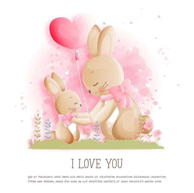 Valentijnsdag kaart met schattige konijntje en hart ballon Premium Vector