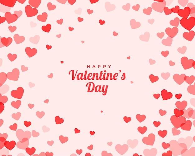 Valentijnsdag kaart met verspreide achtergrond Gratis Vector
