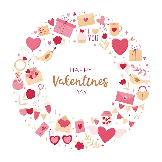 Valentijnsdag kaart. ronde compositie van verschillende elementen op een witte achtergrond en een inscriptie. Premium Vector