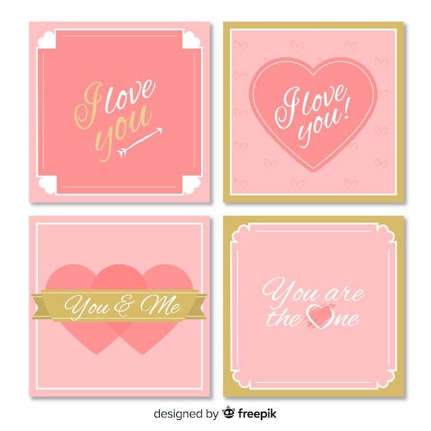 Valentijnsdag kaart verzameling gouden details Gratis Vector