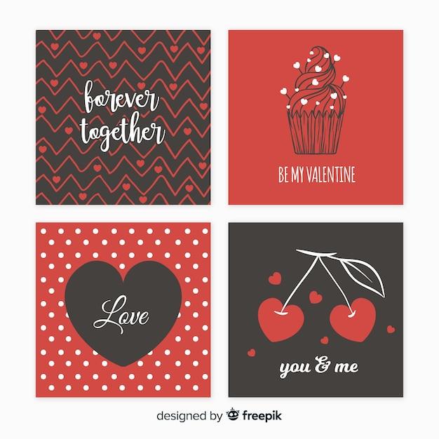 Valentijnsdag kaarten instellen Gratis Vector