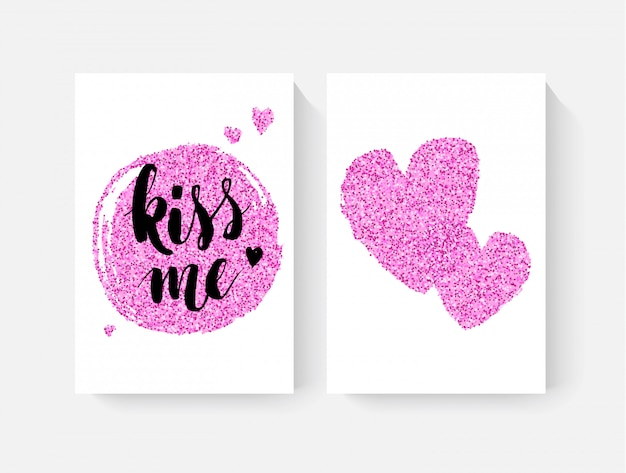Valentijnsdag kaarten met hand lettring en roze glitter details Premium Vector