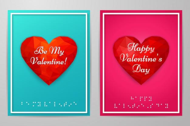 Valentijnsdag kaarten met tekst braille Premium Vector