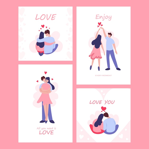 Valentijnsdag kaartenset. gelukkig paar verliefd. minnaar viert een romantische date. idee van relatie en liefde. man en wo, ben kus. Premium Vector