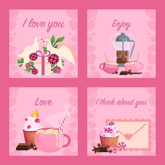 Valentijnsdag kaartenset. zoete viering en romantische date. idee van relatie en liefde. valentijnsdag kaart bericht. Premium Vector
