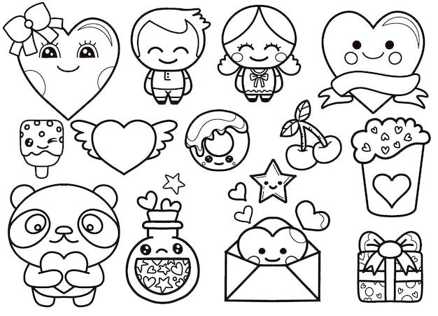 Valentijnsdag kawaii pictogrammen instellen Premium Vector
