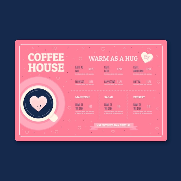 Valentijnsdag koffiehuis menu Gratis Vector