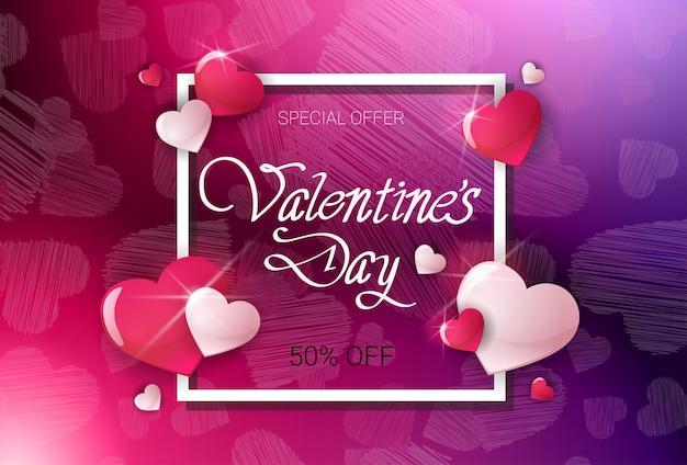Valentijnsdag korting aanbieding poster sjabloon verkoop flyer prijs korting banner ontwerp Premium Vector