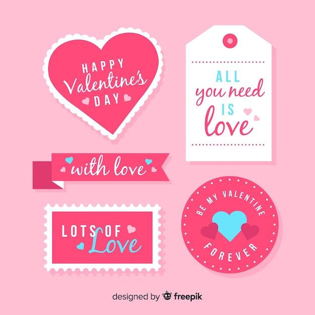 Valentijnsdag label collectio Gratis Vector