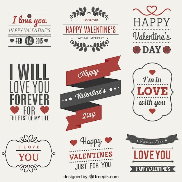 Valentijnsdag label set Gratis Vector